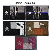 texas abzeichen großhandel-50 stück VP-136 3D Stickerei patches Texas Punisher Taktische Patch Moral Armband Klett Armee Patches Kampf Abzeichen freies schiff