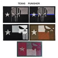 tecido de impressão de penas de seda azul venda por atacado-50 pc VP-136 3D Patches Bordados Texas Punisher Tático Patch Moral Armband Hook And Loop Patches Do Exército Combate Emblema navio livre