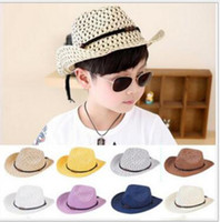 Wholesale Baby Boy Brim Hats - Hand woven children's cowboy leisure jazz hat New fashion baby sun beach hat Kids summer cool straw baby boy girl caps M037