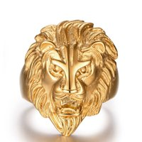 Wholesale ferocious animals - 2016 New Design Retro Punk Ferocious Golden Lion Head Ring Gothic Knight 316L Stainless Steel Ring Size 8-12(USA) Men's Party Accessories