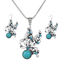 Wholesale Tibet Silver Turquoise Pendant Wholesale - Fashion Turquoise Drop Dangle Jewelry Set Retro Crystal Silver Plated Butterfly Earrings, Pendant Necklace for Woman FNE356