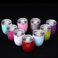 Wholesale Double Layer Coat - Egg Cup Stemless Cups 10oz 9 Colors Double Layer Mugs Powder Coated Stainless Steel Beer Wine Glasses Vacuum Insulated Cups 3002050