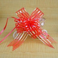 Wholesale Red Car Bows - 5cm Large Size lavender Organza Pull Bows For Wedding Car Decor Wedding Organza Pull Flower Ribbons Gift Wrap
