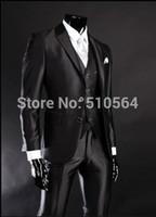 jaqueta de terno brilhante preto venda por atacado-Atacado-Frete Grátis Shiny Slim Fit Noivo Smoking Preto Melhor homem Notch Lapela Groomsman Homens Ternos De Casamento Noivo (Jacket + Pants + Vest)