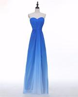 сексуальная синяя длина пола оптовых-2017 Sexy Blue Sweetheart Pleat формальные вечерние платья с шифоном длиной до пола плюс размер Пром партии знаменитости платья BE06