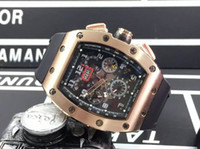 Wholesale Tonneau Skeleton Watch - High Quality Luxury Rose Gold 18K RM011 Felipe Massa Flyback Mens Automatic Movement Skeleton Watches Rubber Men Stainless Wristwatch Gifts