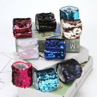 Sequin Mermaid Wristband Double Color 14 Designs Enfeites de Natal Presentes de festa Girl Wedding Favors Bracelets Creative Unique Ring JF01