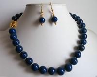 Wholesale Lapis Pearl Jewelry - Beautiful 12mm natural blue Lapis lazuli necklace earrings jewelry set