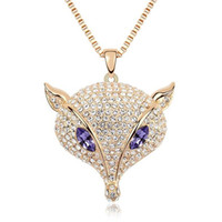 Wholesale Cheap Big Necklaces For Women - Fashion Fox Sweater Chain Necklace Crystal from Swarovski Long Big Necklace Pendants For Women High Quality Cheap Jewelry 7510