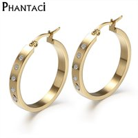 Atacado- AAA CZ Brand Design Brincos para mulheres Jóias de moda Trendy Crystal Gold Color Stainless Steel Hoop Earrings