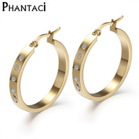 Wholesale Cz Hoops - Wholesale- AAA CZ Brand Design Earrings For Women Fashion Jewelry Trendy Crystal Gold Color Stainless Steel Hoop Earrings