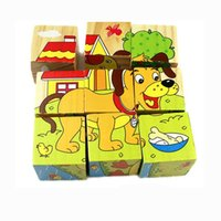 Wholesale Good Jigsaw - Children 3D Wooden Jigsaw Early Educational Wooden Cartoon Animal Puzzle Toys (9 Piece Puzzles), Good Gifts Toys Blocks for Toddlers Baby Ki