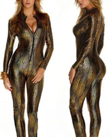 Wholesale Gothic Dance Costumes - 3 Colors Novelty Snakeskin Costume Ladies Sexy Faux Leather Catsuit Game Cosplay Gothic Zipper Up Jumpsuit Girl Nightclub Dancing Clothes