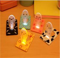 ingrosso luce di mini dimensioni ha condotto-Portable LED Mini Card Night Light Wallet Size Nuovo design Nightlight Bambini Creative Cute LED Lampadine