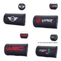 Wholesale Neck Protection Pillow - Hot sale 2 pcs Carbon Fiber Leather Car rest protection Neck Pillow headrest sleep all series car accessories for wing viper wrc italy logo