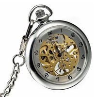Wholesale Mens Watc - Classic Open Face Pocket Watches 12 Hours Hand Winding Skeleton Mens Mechanical Silver Case Pocket Watc