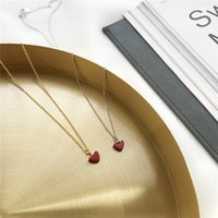 The New Fashion 925 Silver Chains Little Red Peach Heart Clavicule Chaîne pour Femmes Déclaration Collier China Direct Manufacturers