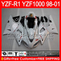 Wholesale 98 R1 Fairings White Black - 8Gift 23Color Body For YAMAHA YZF1000 YZFR1 98 99 00 01 YZF-R1000 61HM9 white black YZF 1000 R 1 YZF-R1 YZF R1 1998 1999 2000 2001 Fairing