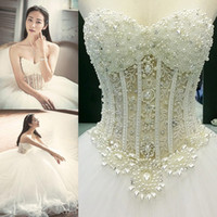 Wholesale Beaded Backless Ball Bridal Gown - Sexy Dimond Sweetheart Wedding Dress Crepe Embroidered Beaded Castle Ball Gown Sweep Train Illusion Backless Bridal Gown