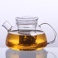 Wholesale Glass Teapot Strainer - 550ML 750ML 1100ML Borosilicate Glass CLear Artificial blowing Teapot Cooking pot Tea Set Herb Tea Strainer Filter Infuser