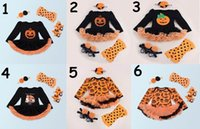 Wholesale Toddler Girl Knee Socks - 2017 New Baby Girl Long Sleeve Halloween Dress Pumpkin Dress +headband+socks+shoes Four Piece Sets Toddler Clothing 7673