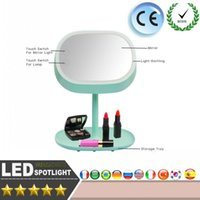 Wholesale Cool Led Desktop Light - LED Best Quality Fashion Lady Makeup Stand Mirror Rechargable LED Light Lamp Cosmetic Rotation Desktop Table Bed Lamp Decor Gift