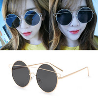 Wholesale Wholesale Face Mirrors - New sunglasses big frame round face sunglasses for men womans glasses tide personality glasses golden sunglasses 4 selection of color