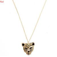 Wholesale Leopard Long Necklace - Hot Wholesale Crystal Leopard Head Pendant Necklace Woman Fashion Jewelry Hollow Leopard Long Statement Necklace For Sweater Dress SV001111