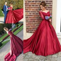 elbiseli düğün kırmızı uzun kol toptan satış-Lüks Kırmızı Dantel Balo Gelinlik Uzun Kollu ile Yeni İnciler Kristal Düğün Gelin Törenlerinde Artı Boyutu Gelin Elbise Vestidos de noiva