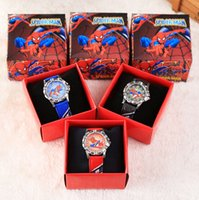 Wholesale Watch Spider - Wholesale Cartoon Spider-Man kids boys girls children cartoon quartz Children Wristwatch Watches With Boxes Party Favors Gift W27