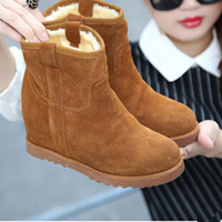 Wholesale Platforms Wedges Shoes - Wholesale-2015 Winter Autumn Wedge Genuine Leather Boots Women Fashion Breathable Height Lace Platform Shoes Woman Snow Boots