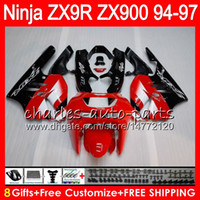 Wholesale 1996 Zx9r Kawasaki Fairings - 8Gifts 23Colors For KAWASAKI NINJA ZX 9 R ZX9R 94 95 96 97 900CC 49HM8 red black ZX 9R ZX900 ZX900C ZX-9R 1994 1995 1996 1997 Fairing kit