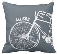 Throw Pillow Case, Vintage Rustic Bicycle + Any Farbe Personalisierte Square Sofa und Auto Kissen Cover,