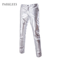 Wholesale Costume Mens - Wholesale- Mens Casual Night Club Metallic Gold Flat Front Suit Pants Casual Slim Fit Straight Leg Trousers Hip Hop Stage Costumes Singers