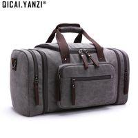 Wholesale Suitcase Large - Wholesale- 2017 Men's Vintage Travel Bags Large Capacity Canvas Tote Portable Luggage Daily Handbag Bolsa Multifunction Drop Shipping P422