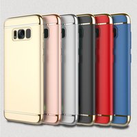 Compra Iphone case-Ultra Slim 3in1 Electroplate Metal Goophone Hard Case para iphone 6 6S Samsung Galaxy S7 edge S8 plus funda protectora a prueba de golpes para celular