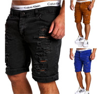Wholesale Men Wearing Holes Shorts - Men Washed Hole Knee Length Jean Casual Stylist Male Jeans Solid Worn Short Pants Trousers 2017 New Realise
