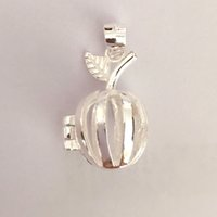 Wholesale apple locket - 925 Silver Apple Locket, Can Open Pearl Gem Bead Cage Pendant, Sterling Silver Pendant Mounting for DIY Bracelet Necklace Jewelry Charm
