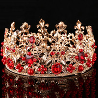 Wholesale Full Hairbands - Baroque Bridal Wedding Alloy Crown Earrings 2017 Romantic Full Moon Shaped Rhinestone Bridal Tiaras Handmade Bridal Accessories