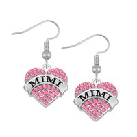Wholesale Errings Silver - New Style Fashion Three-Colored Crystal Heart Drop Earrings MIMI Silver Pink Blue Color Dangle Errings Jewelry