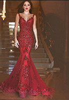 Wholesale Deep V Sweetheart Dress - 2018 New Arabic Backless Mermaid Evening Dresses 2017 Charming Long Prom Gowns Sequins Sweetheart Lace Applique Formal Cheap Evening Gowns