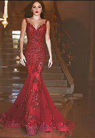 Wholesale photo image art online - 2018 New Arabic Backless Mermaid Evening Dresses Charming Long Prom Gowns Sequins Sweetheart Lace Applique Formal Cheap Evening Gowns
