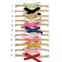 Wholesale Suede Headbands - Nylon Baby Headbands Suede Bow Headband Small Bow Hair Band Infant Hair Accessory 11colors 22pcs lot