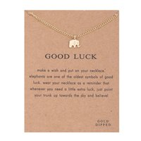 Wholesale Necklace Sparkling Earrings - Hot Sale Sparkling good lucky elephant Pendant necklace gold plated Clavicle Chains Statement Necklace Women Jewelry(Has card)