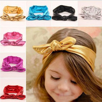 Wholesale Baby Headhands - Hot Baby Hairband Girls Lovely Bow Hair Band Infant Cute Bunny Hare Rabbit Ear Headwrap Elastic Metallic Lustre Headhands 7 Color