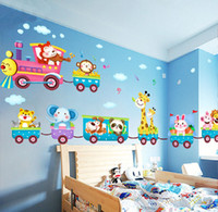 Wholesale Wall Decor Stickers Kids Train - Wholesale- Hot sale Safari Animals Train Wall Stickers Nursery Decor Baby Kids Art Mural Removable
