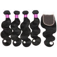 işlenmemiş saç toptan satış-Malezya Bakire Vücut Dalga Saç Kapatma Ile 3 Demetleri Örgüleri Işlenmemiş Saç 4 * 4 Dantel Kapatma İnsan Saç Dantel Kapatma