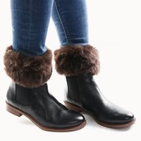 Atacado-1 par Moda Feminina Lady Crochet Knit Fur Trim Perna Warmers Cuffs Toppers Boot Socks