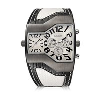 Wholesale Snakeskin Watch - OULM deluxe stylish dual-machine snakeskin watches multiple time zone sports quartz wrist watch irregular dial free delivery