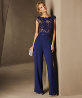 Wholesale Sheer Lace Jumpsuits - Free shipping Navy Blue Lace Formal Evening Dress 2017 Jumpsuits Evening Party Gowns Long Gown Party Dress robe de soiree